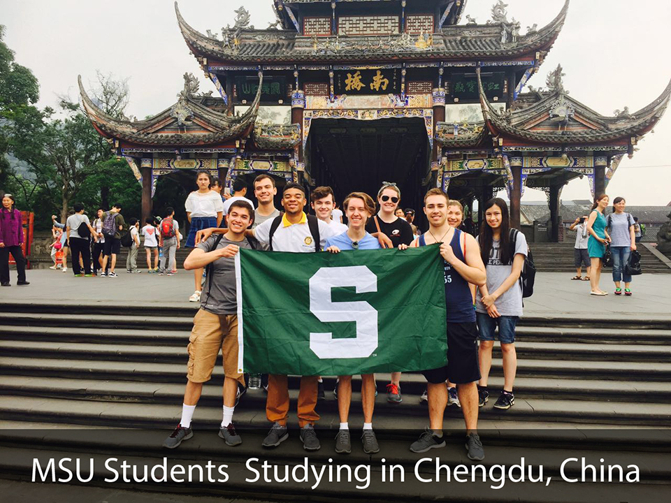 MSU students standing outside Chinese temple
